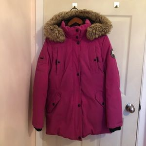 Pink long Winter coat with fur